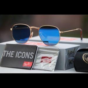 Ray Ban Deep Blue Hexagonal Sunglasses